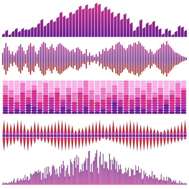 Vektoruppsättning av röda solida vågor Ljudsignal utjämnare Ljud- & ljudsignalvågor stock illustrationer