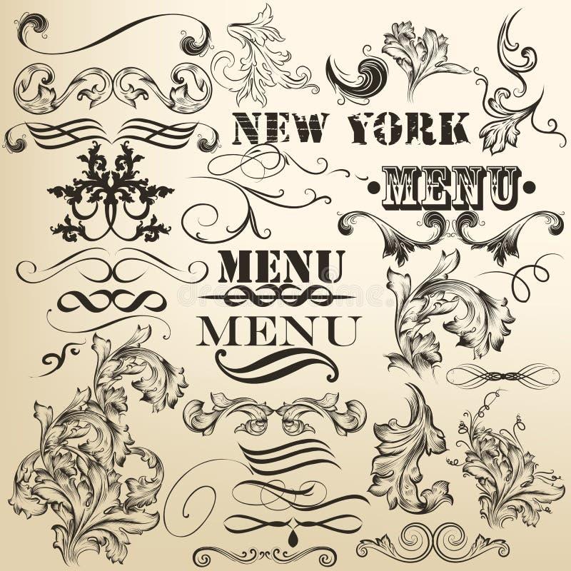 Vektoruppsättning av retro calligraphic dekorativa beståndsdelar stock illustrationer