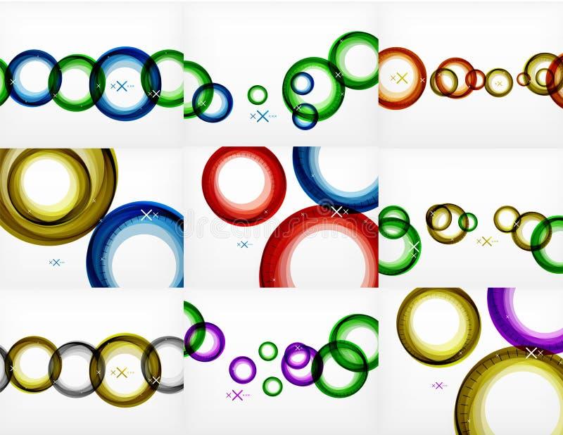 Vektoruppsättning av runda cirkelabstrakt begreppbakgrunder royaltyfri illustrationer