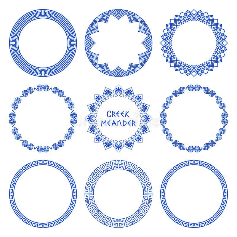 Vektoruppsättning av runda grekramar 4 royaltyfri illustrationer