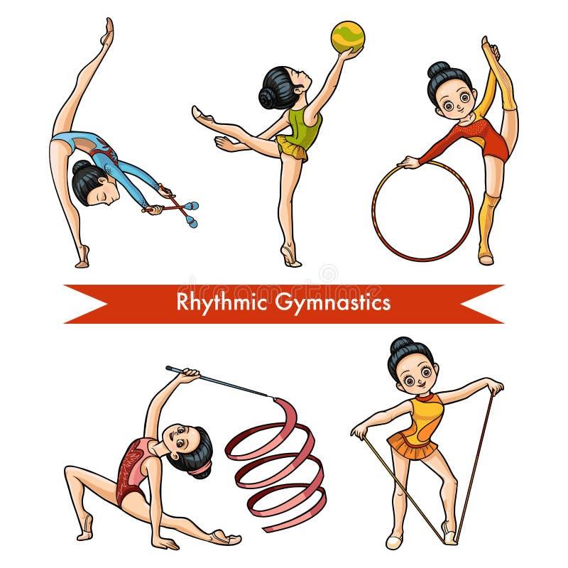 Vektoruppsättning av rytmisk gymnastik rengöringsduk för universal för mall för sida för hälsning för flicka för bakgrundskorttec stock illustrationer