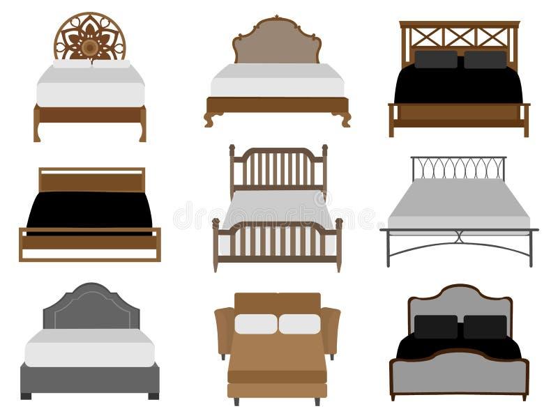 Vektoruppsättning av sängar vektor illustrationer