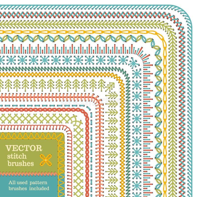 Vektoruppsättning av sömlösa häftklammerborstar royaltyfri illustrationer