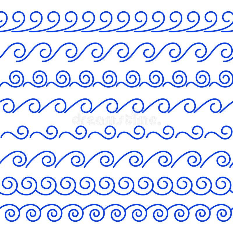 Vektoruppsättning av sömlösa linjära vågborstar vektor illustrationer
