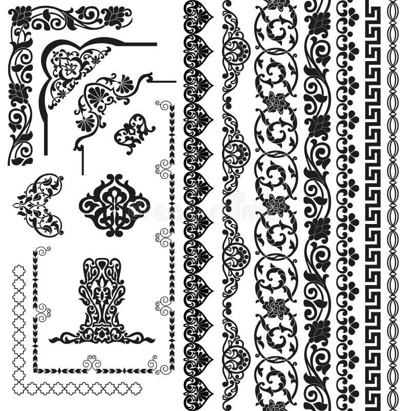 Vektoruppsättning av sömlösa modellband, hörnbeståndsdelar och delar Svarta lyxiga blom- mallar i arabisk stil royaltyfri illustrationer