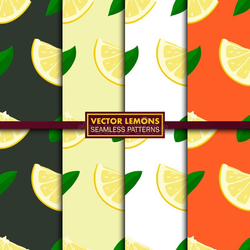 Vektoruppsättning av sömlösa modeller med citroner vektor illustrationer