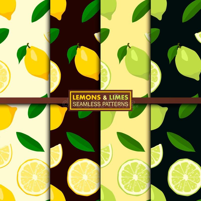 Vektoruppsättning av sömlösa modeller med citroner och limefrukter vektor illustrationer