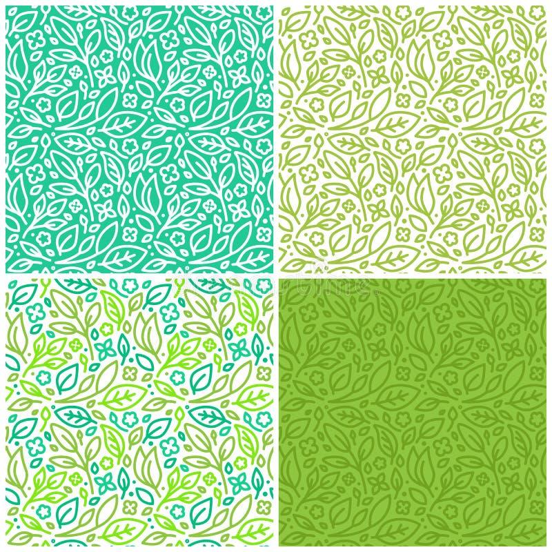 Vektoruppsättning av sömlösa modeller med gröna sidor royaltyfri illustrationer