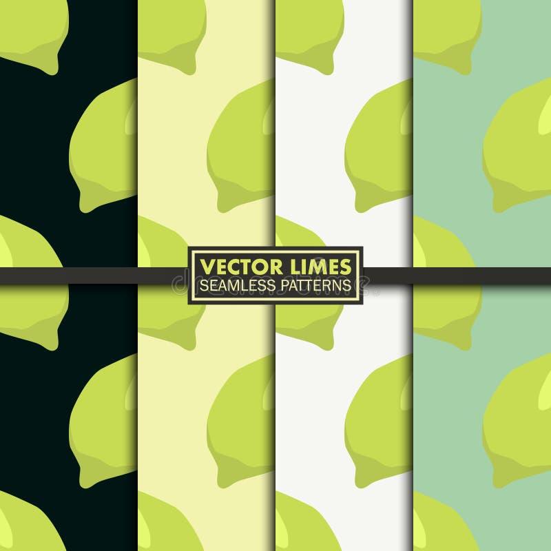 Vektoruppsättning av sömlösa modeller med limefrukter royaltyfri illustrationer