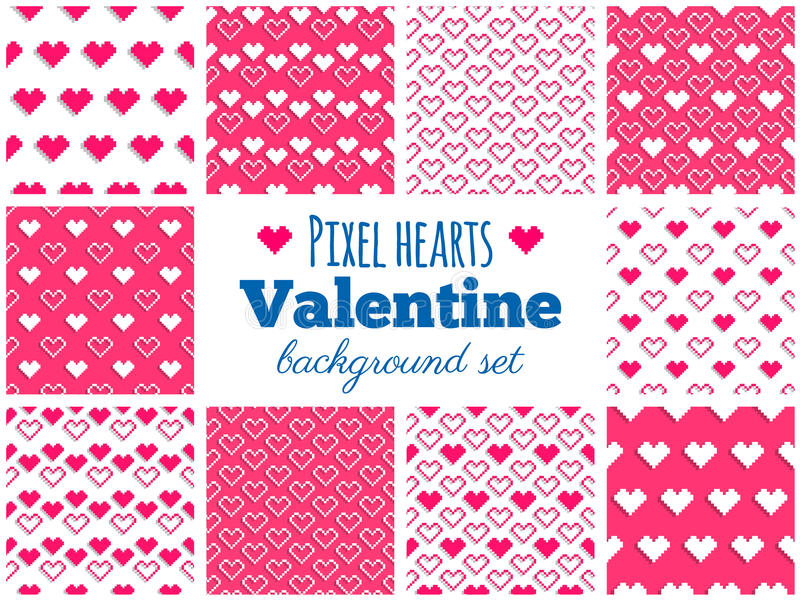 Vektoruppsättning av sömlösa PIXELhjärtamodeller för valentin dag stock illustrationer