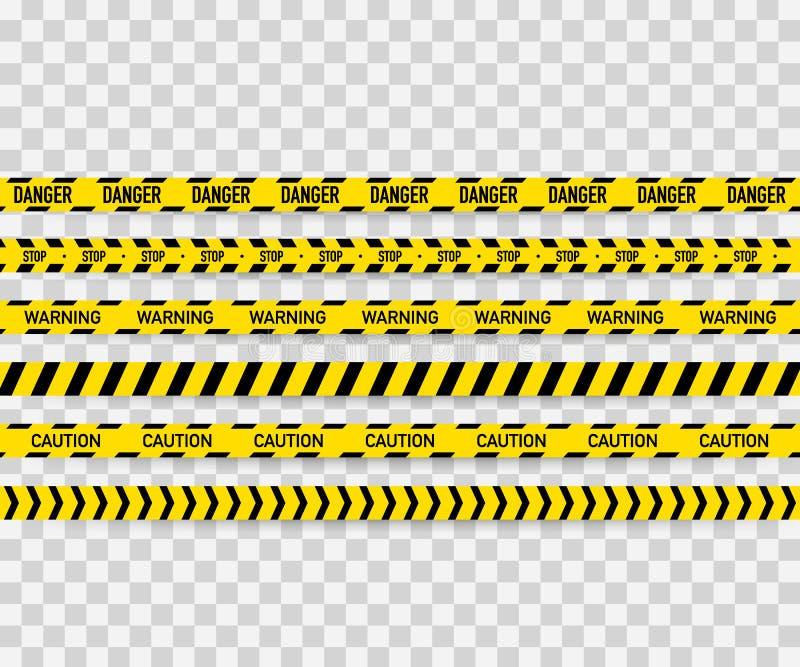 Vektoruppsättning av sömlösa varningsband Varnande band, faraband, varningsband, faraband, under konstruktionsbandet vektor illustrationer