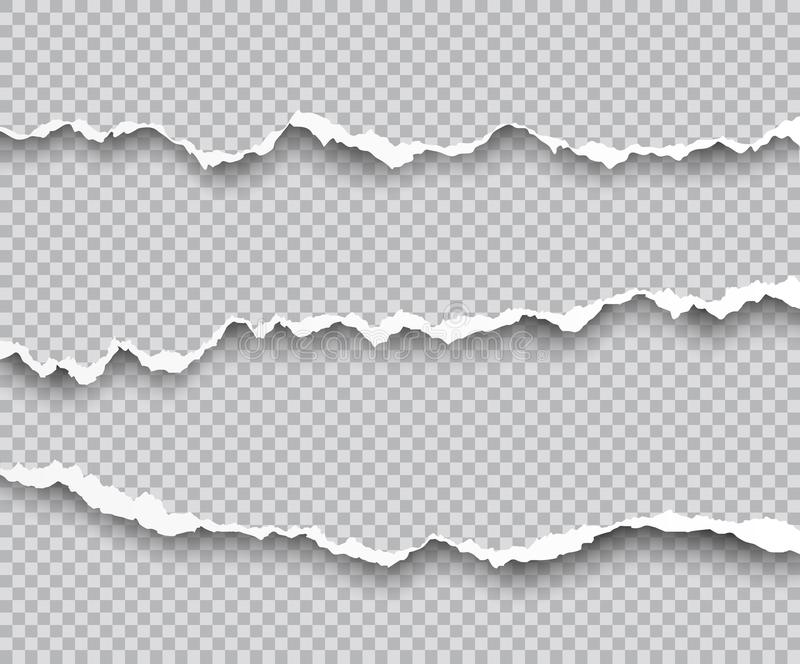 Vektoruppsättning av sönderrivna pappers- kanter med skuggor som isoleras på transpar vektor illustrationer
