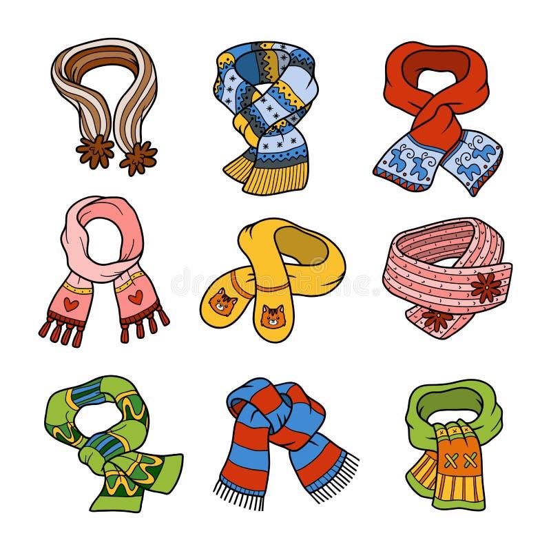 Vektoruppsättning av scarves med djur och geometriska prydnader royaltyfri illustrationer