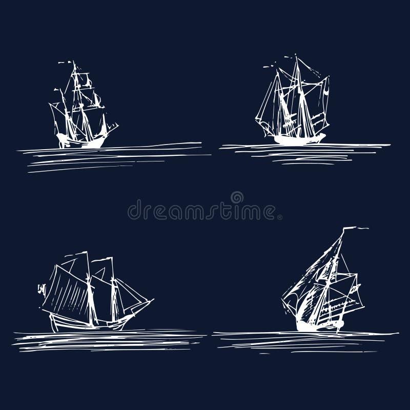Vektoruppsättning av seglingskepp eller fartyg i havet Handen skissade skonare, slup, brigantin Marin- temadesign royaltyfri illustrationer
