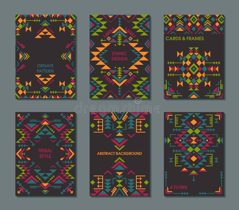 Vektoruppsättning av sex kort Etnisk utsmyckad modell med geometriska former stock illustrationer