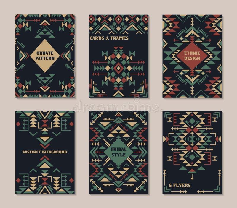 Vektoruppsättning av sex kort Etnisk utsmyckad modell med geometriska former royaltyfri illustrationer