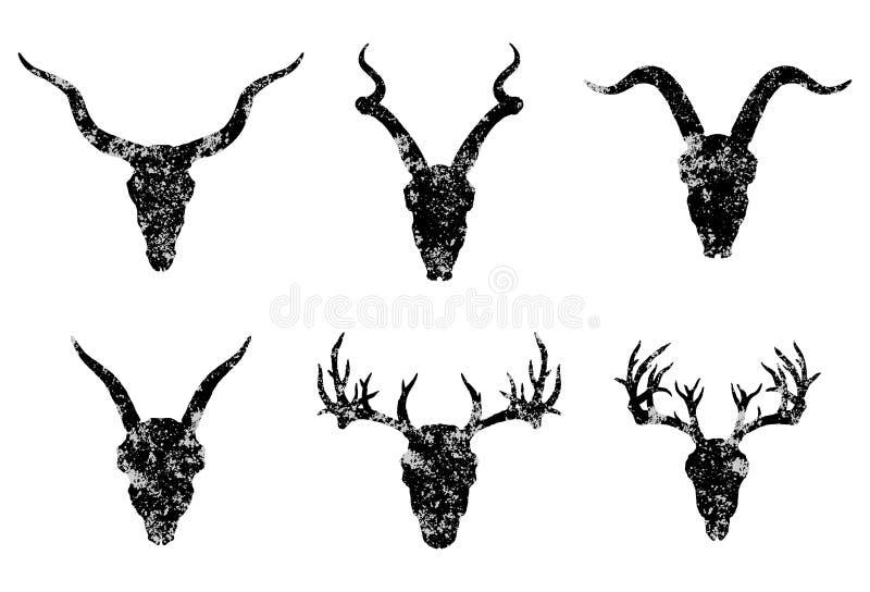 Vektoruppsättning av sex utdragna skallar för hand av horned djur: antilop, hjortar och getter på vit bakgrund stock illustrationer
