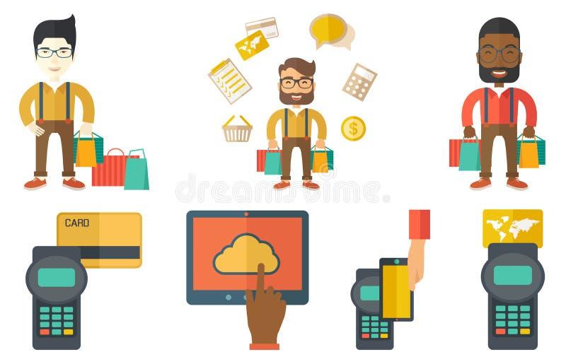 Vektoruppsättning av shoppingfolktecken royaltyfri illustrationer