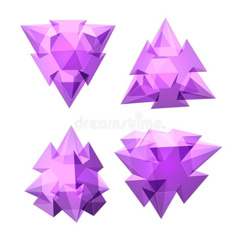 Vektoruppsättning av sikter av genomskinlig komplex geometrisk form som baseras på tetrahedron vektor illustrationer