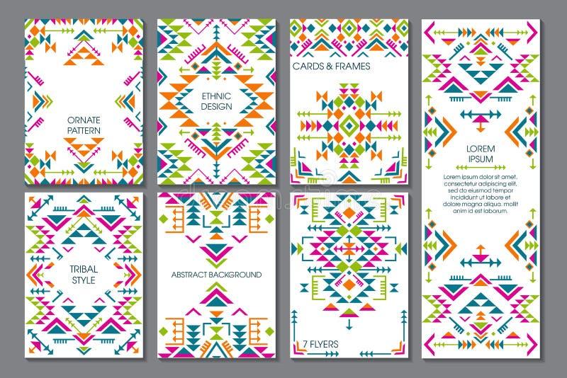 Vektoruppsättning av sju kort Etnisk utsmyckad modell med geometriska former stock illustrationer