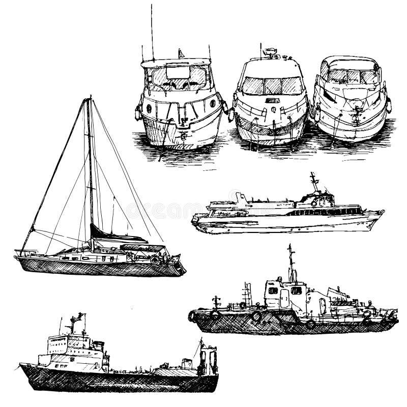 Vektoruppsättning av skepp och fartyg stock illustrationer
