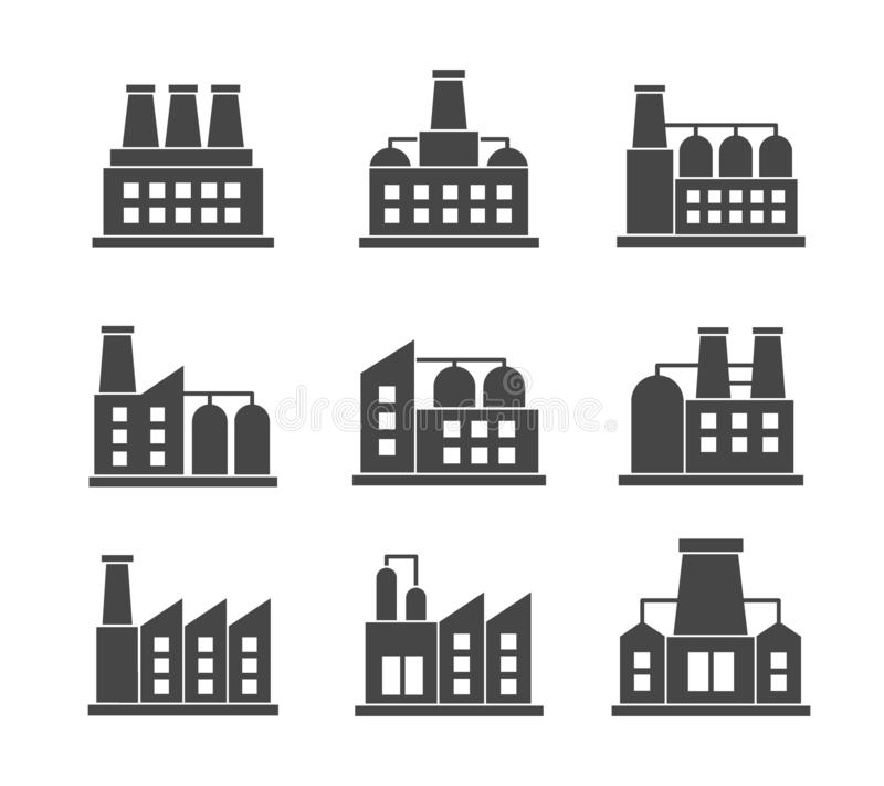 Vektoruppsättning av släkta symboler för fabriker Industribyggnadfabrikssymbol och tecken på vit bakgrund royaltyfri illustrationer