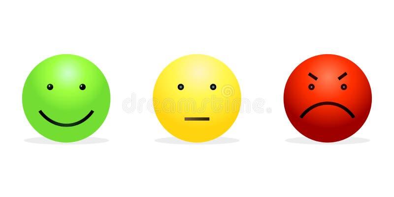 Vektoruppsättning av 3 Smileys - grön lycklig, gulingstillhet och rött rasande stock illustrationer