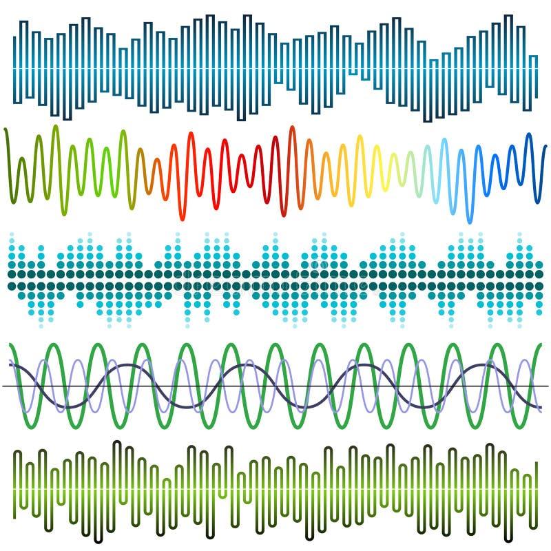Vektoruppsättning av solida vågor Ljudsignal utjämnare Ljud- & ljudsignalvågor vektor illustrationer