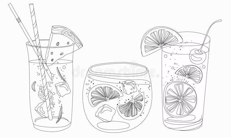 Vektoruppsättning av sommar som kyler drinkar med frukter Samling royaltyfri illustrationer