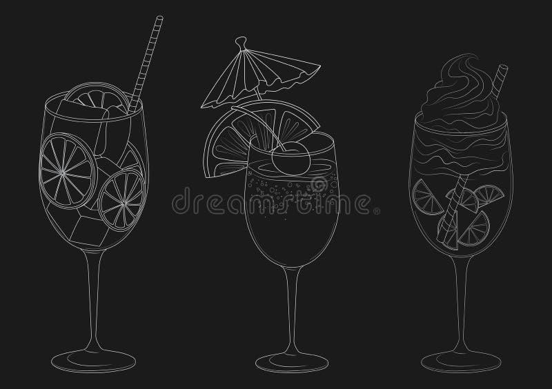 Vektoruppsättning av sommar som kyler drinkar med frukter Samling av stiliserade alkoholiserade coctailar i exponeringsglas svart vektor illustrationer