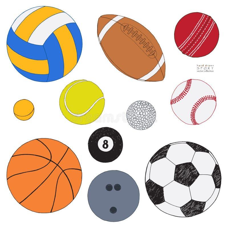 Vektoruppsättning av sportbollar Den färgade handen som dras, skissar bakgrund isolerad white all samlingssport royaltyfri illustrationer