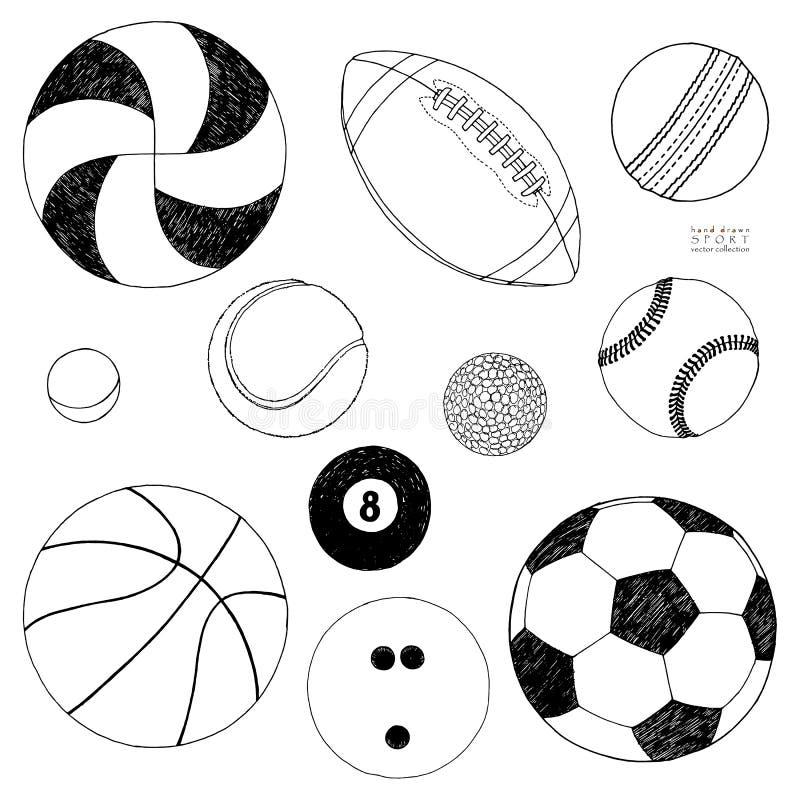 Vektoruppsättning av sportbollar Den tecknade handen skissar bakgrund isolerad white vektor illustrationer