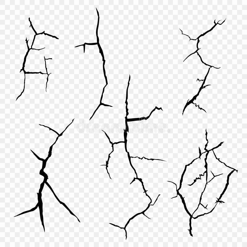 Vektoruppsättning av sprickor i yttersidan Beståndsdelarna av ett fel i jorden som isoleras på en genomskinlig bakgrund stock illustrationer