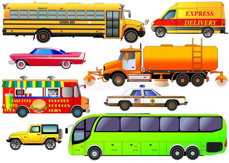 Vektoruppsättning av stads- trafik för olik stad som isoleras på vit Veh vektor illustrationer