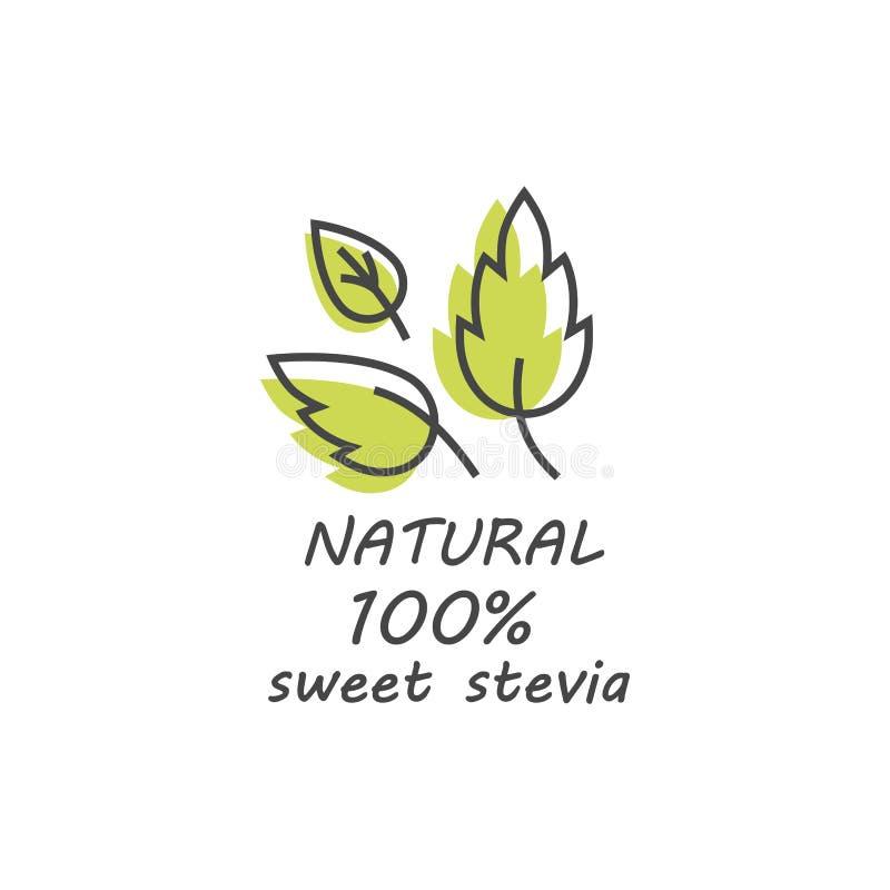 Vektoruppsättning av steviaetiketter, logoer, emblem, symboler Naturlig sötningsmedeldesignbeståndsdel Organisk steviasymbol stock illustrationer