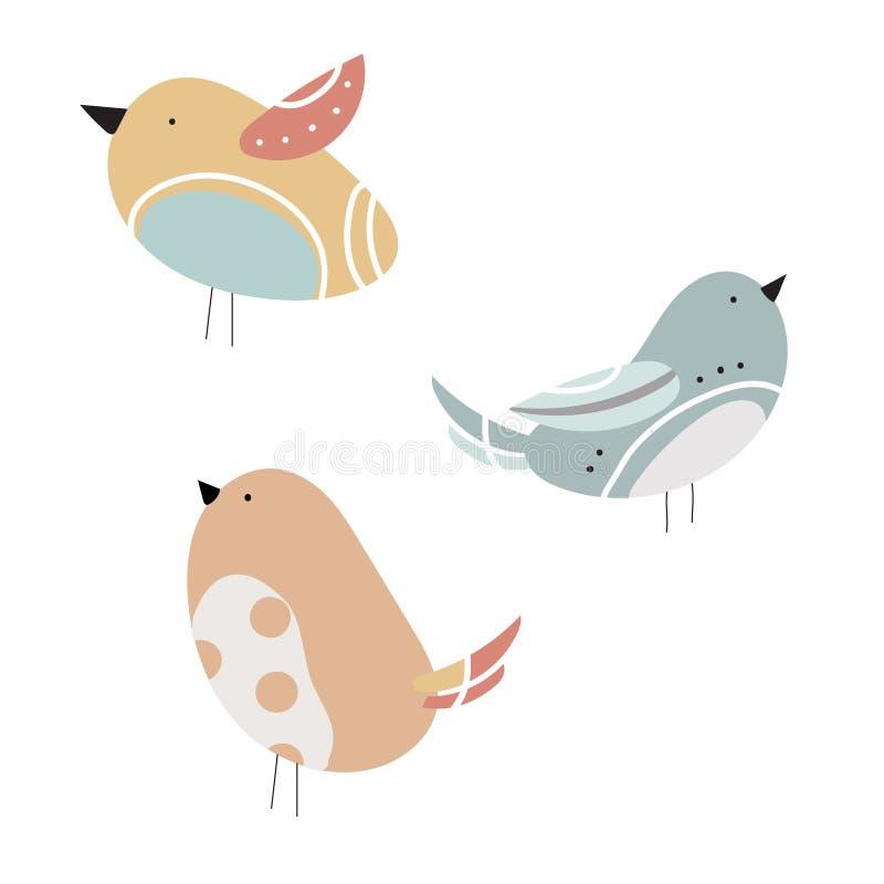 Vektoruppsättning av stiliserade fåglar En samling av tecknad filmfåglar children illustration Grafik Duva Sparv royaltyfri illustrationer