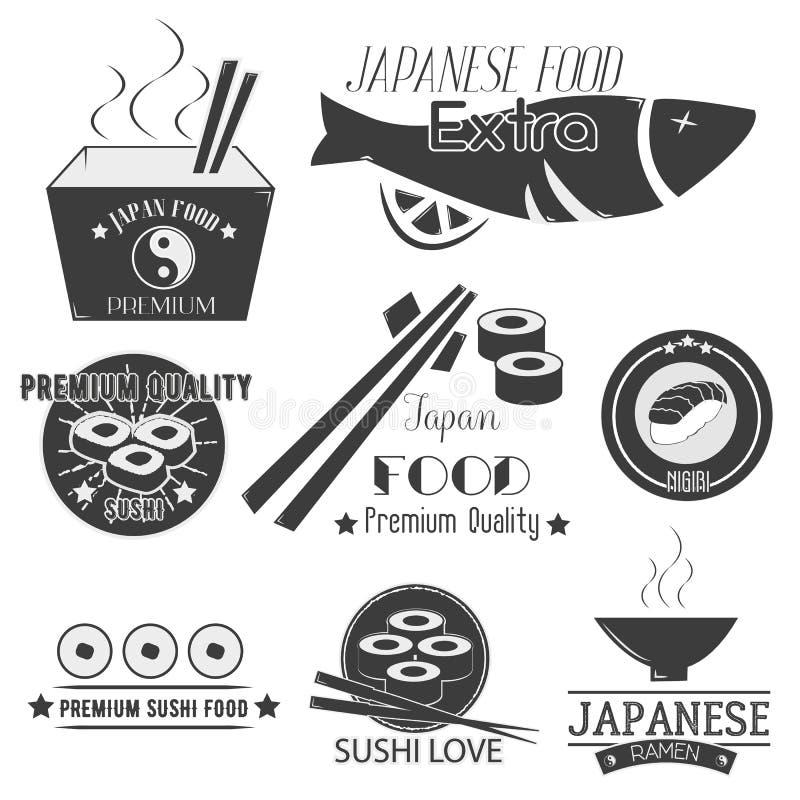 Vektoruppsättning av sushietiketter Japansk matrestauranglogo, symboler Asiatisk kokkonstillustration royaltyfri illustrationer