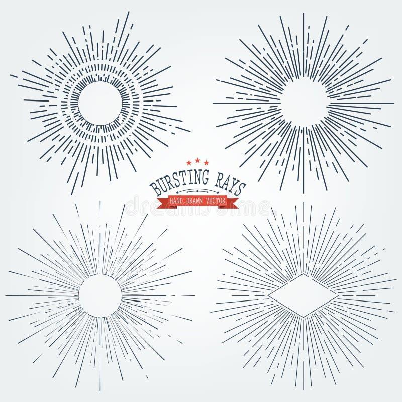 Vektoruppsättning av svarta Sunburstsdiagrambeståndsdelar Tappning märker isolater på vit för inbjudningar, hälsningkort, affisch stock illustrationer