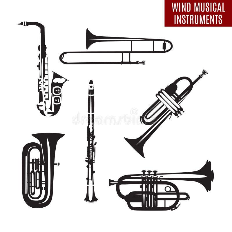 Vektoruppsättning av svartvita vindmusikinstrument i flar design vektor illustrationer