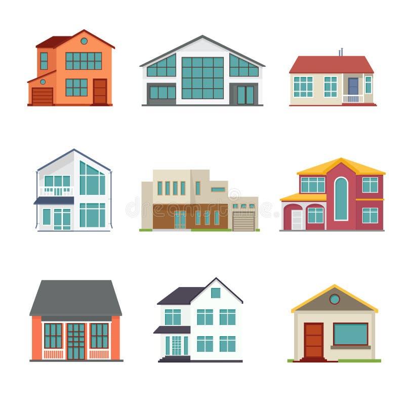 Vektoruppsättning av symboler för stugabyggnadslägenhet vektor illustrationer