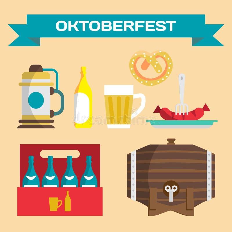 Vektoruppsättning av symboler i en plan stil för Oktoberfest olik t stock illustrationer
