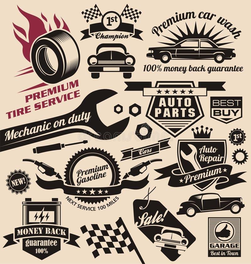 Vektoruppsättning av tappningbilsymboler och logoer stock illustrationer