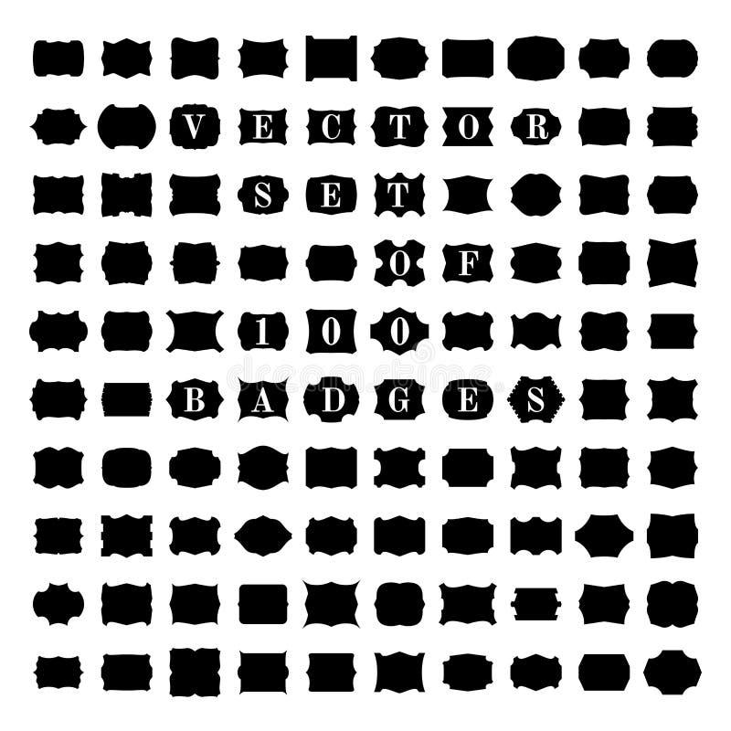 Vektoruppsättning av 100 tappningemblem vektor illustrationer