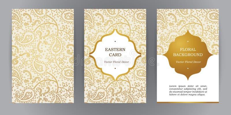 Vektoruppsättning av tappningkort i östlig stil royaltyfri illustrationer