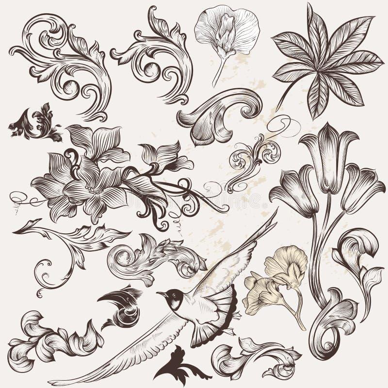 Vektoruppsättning av tappningvirvlar och hand drog beståndsdelar stock illustrationer
