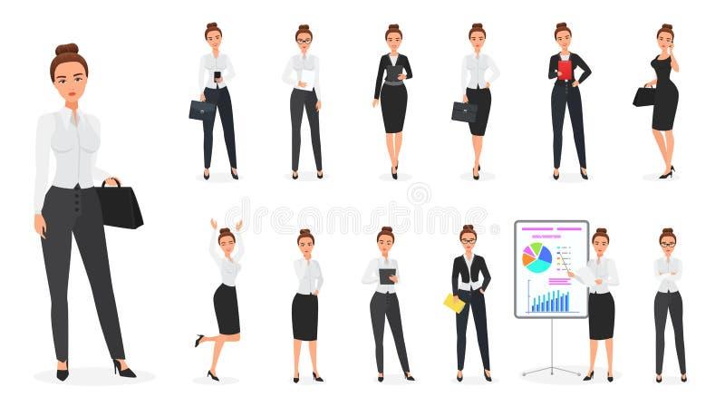 Vektoruppsättning av teckenet för affärskvinna Kontorskvinnlig vektor illustrationer