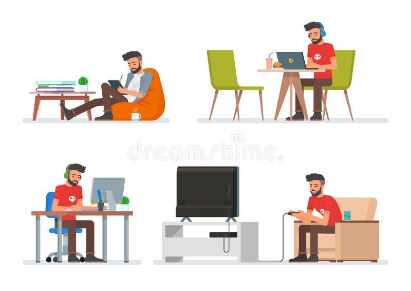 Vektoruppsättning av tecknad filmfolktecken i plan stildesign Hipsterman som spelar videospel som läser den elektroniska boken stock illustrationer