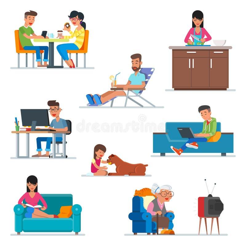 Vektoruppsättning av tecknad filmfolktecken i plan stildesign Koppla ihop i kafét, kvinnamatlagning på köket, grabbarbete stock illustrationer