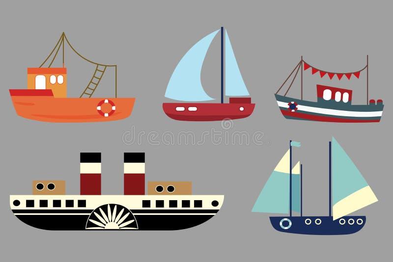 Vektoruppsättning av tecknad filmskepp En samling av gamla ångare Seglingskepp toy Stiliserade fartyg konstbarn klättrare somdiag stock illustrationer