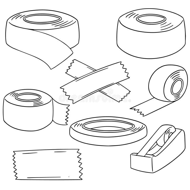 Vektoruppsättning av tejpen stock illustrationer